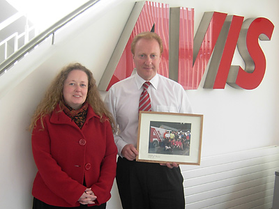 Jillian presents Brendan with a photo from the Wicklow Way for Sharon Walk